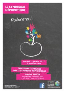 Conférence sur le Syndrome Néphrotique Samedi 21 janvier 2017 à Paris