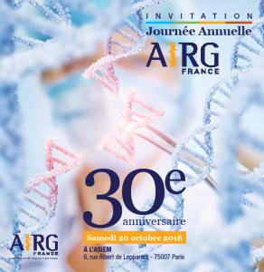20 Octobre 2018 : Programme et inscriptions pour les 30 ans de l'AIRG-France