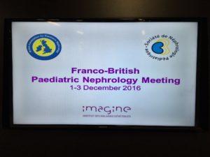 Congrès Franco-Britannique de Néphropédiatrie du 1er au 3 décembre 2016