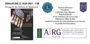 Le 11 juin 2017 a eu lieu un Concert au profit de l'AIRG-France