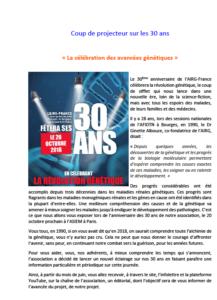 20 Octobre 2018 : Coup de projecteur sur les 30 ans de l'AIRG-France